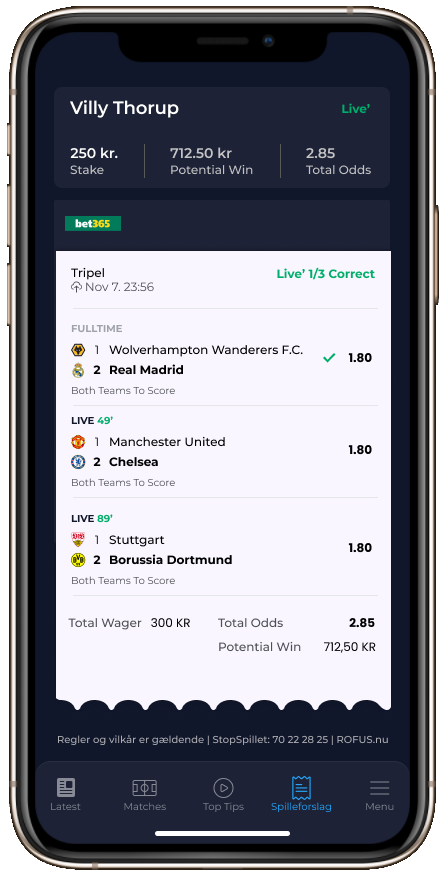 App Betting slip slip screenshot