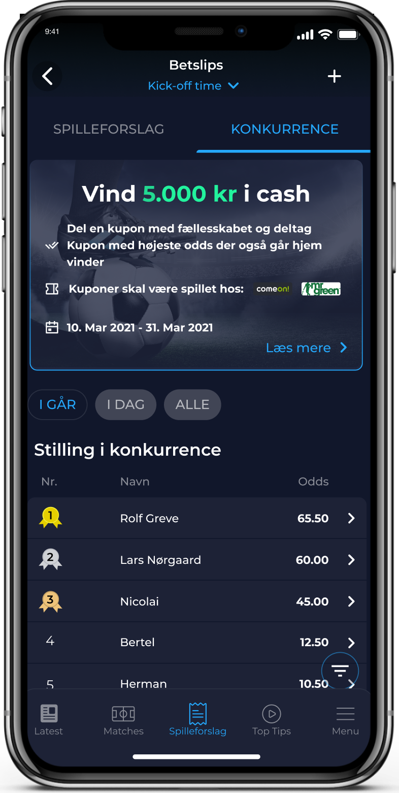 App Betting slip feature screenshot