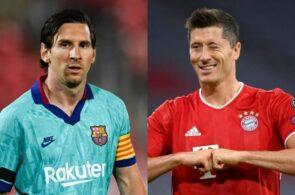 Lionel Messi, Barcelona, og Robert Lewandowski, Bayern München