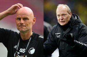 Ståle Solbakken, FC København, og Niels Frederiksen, Brøndby IF