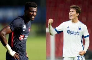 Sory Kaba, FC Midtjylland, og Jonas Wind, FC København