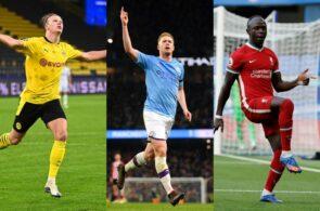 Erling Håland, Dortmund, Kevin De Bruyne, Manchester City, og Sadio Mané, Liverpool