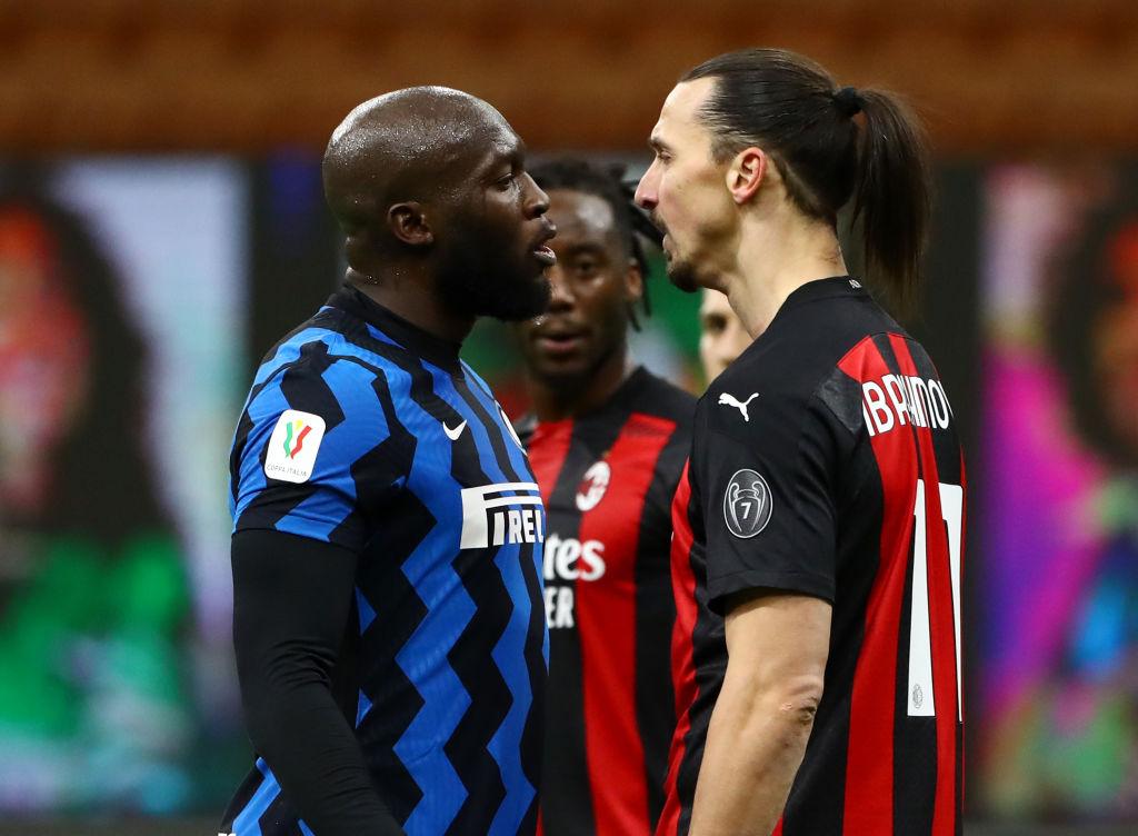 Romelu Lukaku, Inter, og Zlatan Ibrahimovic, AC Milan