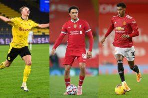 Erling Håland, Dortmund, Trent Alexander-Arnold, Liverpool, og Marcus Rashford, Manchester United
