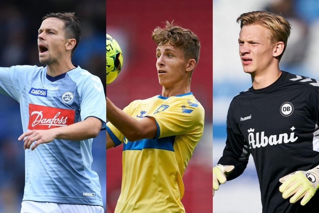Mads Albæk, SønderjyskE, Jesper Lindstrøm, Brøndby, og Oliver Christensen, OB