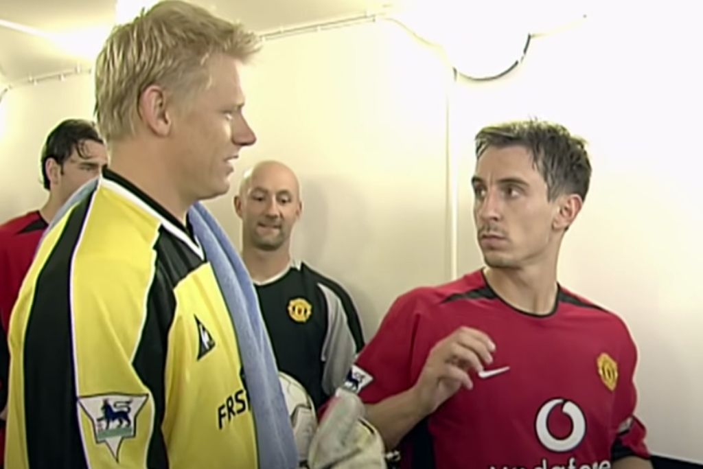 Peter Schmeichel, Manchester City, og Gary Neville, Manchester United
