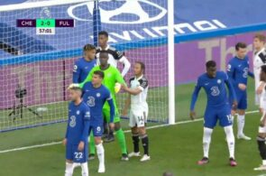 Bobby Reid, Fulham, og Edouard Mendy, Chelsea