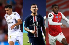 Brahim Diaz of Real Madrid, Leandro Paredes of Paris Saint-Germain, Ainsley Maitland-Niles of Arsenal