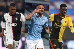 Douglas Costa of Juventus, Gabriel Jesus of Manchester City, Ismaila Sarr of Watford