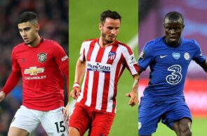 Andreas Pereira of Manchester United, Saul Niguez Atletico Madrid, N'golo Kante of Chelsea