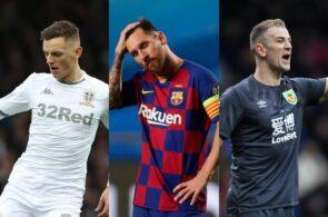Ben White of Leeds United, Lionel Messi of FC Barcelona, Joe Hart