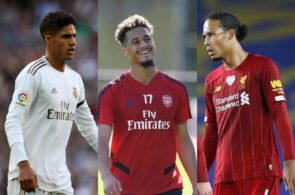 Raphael Varane of Real Madrid, William Saliba of Arsenal, Virgil van Dijk of Liverpool