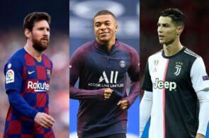 Lionel Messi of FC Barcelona, Kylian Mbappe of Paris Saint-Germain, Cristiano Ronaldo of Juventus