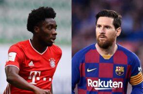 Alphoso Davies of Bayern Munich, Lionel Messi of FC Barcelona