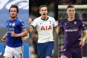 Ben Chilwell of Leicester City, Harry Winks of Tottenham, Nikola Milenkovic of Fiorentina