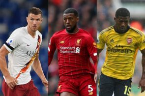 Edin Dzeko of AS Roma, Georginio Wijnaldum of Liverpool, Ainsley Maitland-Niles of Arsenal