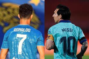 Crisitano Ronaldo of Juventus, Lionel Messi of FC Barcelona