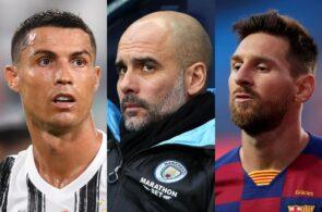 Cristiano Ronaldo of Juventus, Pep Guardiola of Manchester City, Lionel Messi of FC Barcelona