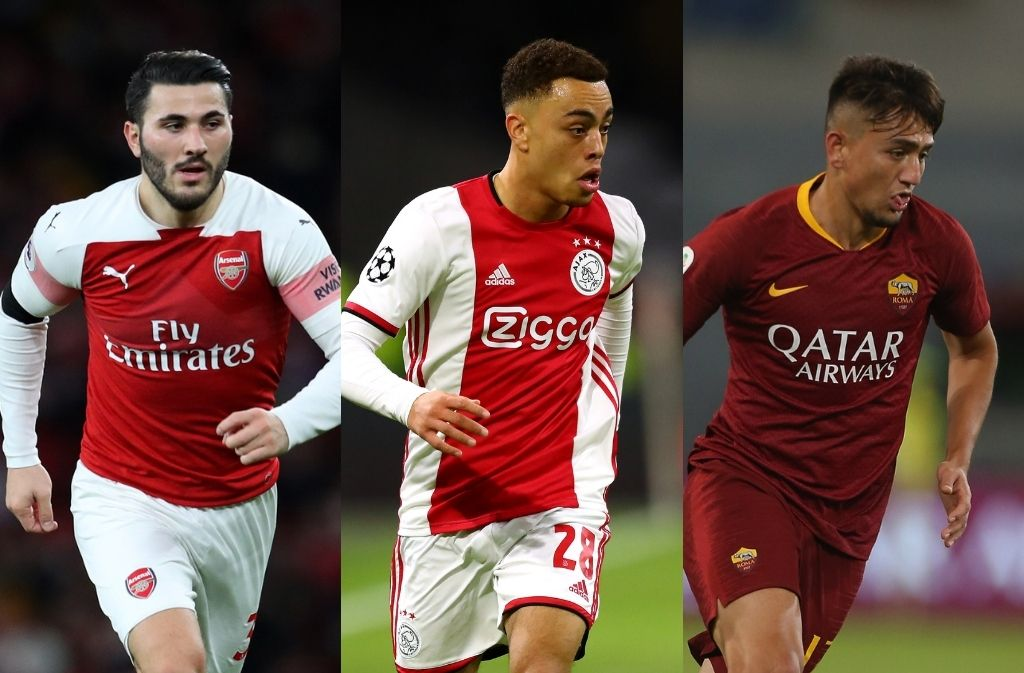 Sead Kolasinac of Arsenal, Sergino Dest of Ajax, Cengiz Under of AS Roma