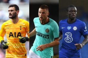 Hugo Lloris of Tottenham, Milan Skriniar of Inter Milan, N'Golo Kante of Chelsea