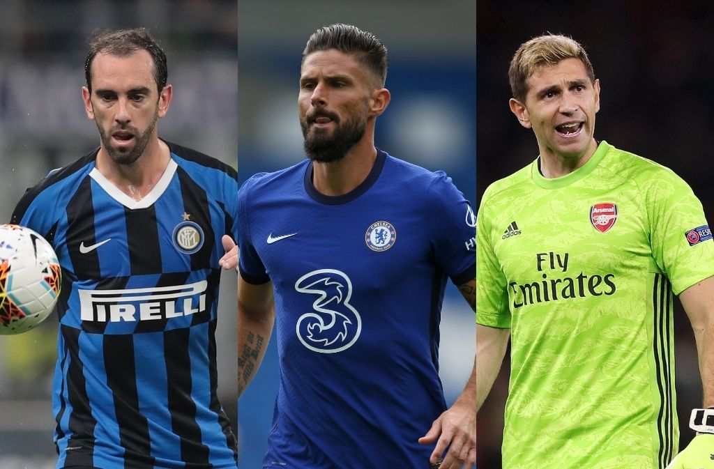 Diego Godin of Inter Milan, Olivier Giroud of Chelsea, Emiliano Martinez of Arsenal