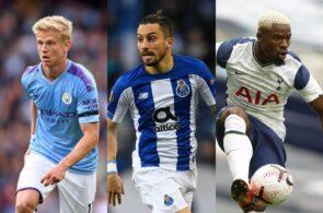 Oleksandr Zinchenko of Manchester City, Alex Telles of FC Porto, Serge Aurier of Tottenham
