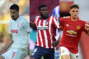 Sami Khedira of Juventus, Thomas Partey of Atletico Madrid, Daniel James of Manchester United