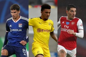 Houssem Aouar of Lyon, Jadon Sancho of Borussia Dortmund, Hector Bellerin of Arsenal