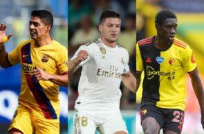 Luis Suarez of FC Barcelona, Luka Jovic of Real Madrid, Ismalia Sarr of Watford