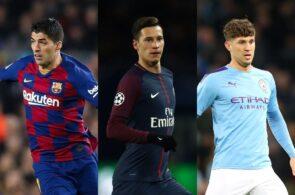Luis Suarez of FC Barcelona, Julian Draxler of Paris Saint-Germain, John Stones of Manchester City