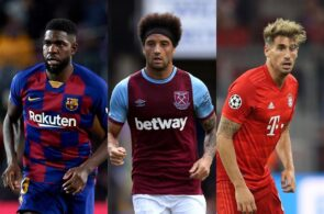 Samuel Umtiti of FC Barcelona, Felipe Anderson of West Ham, Javi Martinez of Bayern Munich
