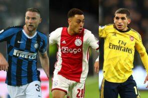 Milan Skriniar of Inter Milan, Sergino Dest of Ajax, Lucas Torriera of Arsenal