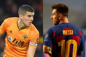 Conor Coady of Wolves, Lionel Messi of FC Barcelona