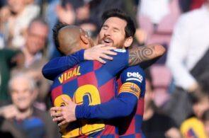Arturo Vidal & Lionel Messi of FC Barcelona
