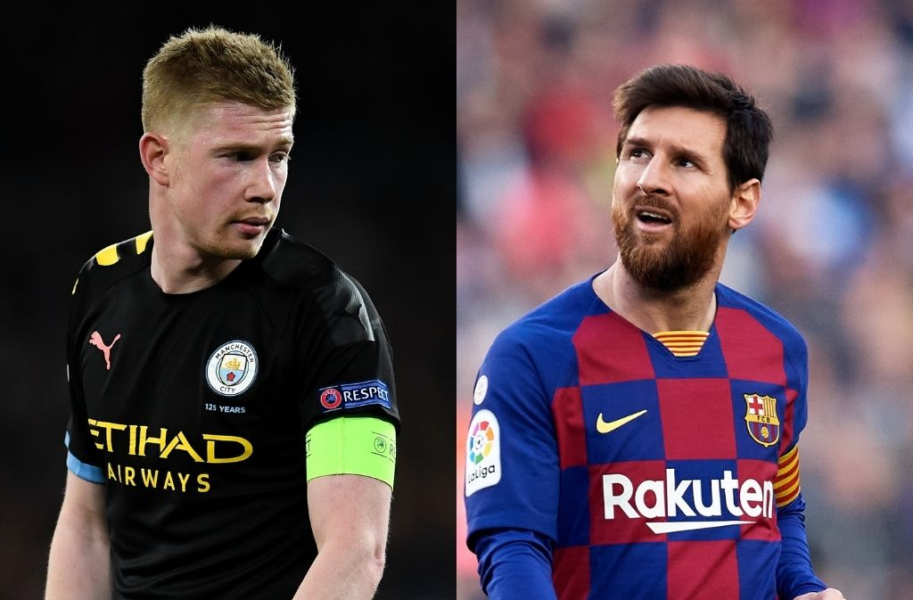 Kevin De Bruyne of Manchester City, Lionel Messi of FC Barcelona