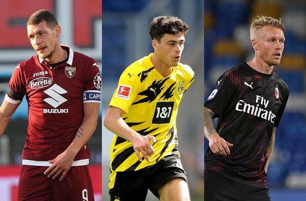 Andrea Belotti of Torino, Giovanni Reyna of Borussia Dortmund, Simon Kjaer of AC Milan