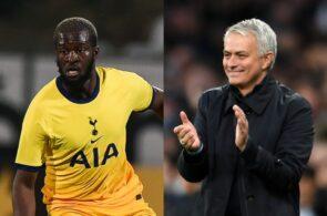 Tanguy Ndombele & Jose Mourinho of Tottenham