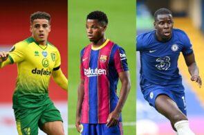 Max Aarons of Norwich City, Ansu Fati of FC Barcelona, Kurt Zouma of Chelsea
