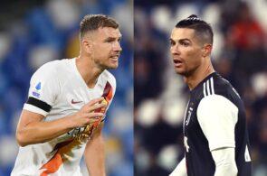 Edin Dzeko of AS Roma, Cristiano Ronaldo of Juventus