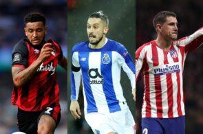Joshua King of Bournemouth, Alex Telles of FC Porto, Jose Gimenez of Atletico Madrid