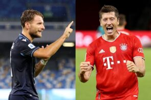Ciro Immobile of Lazio, Robert Lewandowski of Bayern Munich