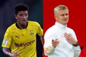 Jadon Sancho of Borussia Dortmund, Ole Gunnar Solskjaer of Manchester United