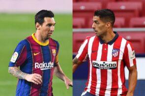 Lionel Messi of FC Barcelona, Luis Suarez of Atletico Madrid