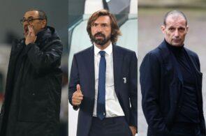 Maurizio Sarri, Andrea Pirlo, Massimiliano Allegri, Juventus