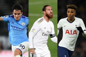 Eric Garcia of Manchester City, Sergio Ramos of Real Madrid, Gedson Fernandes of Tottenham