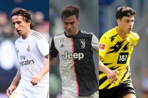 Luka Modric of Real Madrid, Paulo Dybala of Juventus, Giovanni Reyna of Borussia Dortmund
