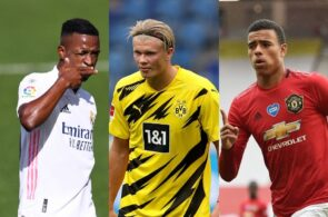 Vinicius Junior of Real Madrid, Erling Haaland of Borussia Dortmund, Mason Greenwood of Manchester United