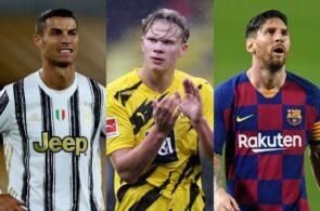Cristiano Ronaldo, Erling Haaland, Lionel Messi