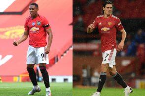 Anthony Martial, Edinson Cavani, Manchester United