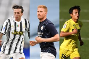 Federico Bernardeschi of Juventus, Kevin De Bruyne of Manchester City, Takefusa Kubo of Villarreal